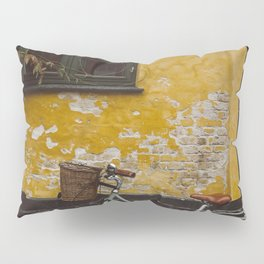 GRAY BICYCLE LEANING ON BROWN WALL Pillow Sham