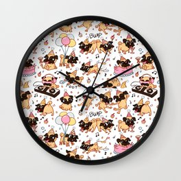 The Great Pug Party Wall Clock