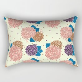 Watercolor coral brown blue hand painted floral polka dots Rectangular Pillow