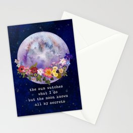 The moon watches Stationery Cards