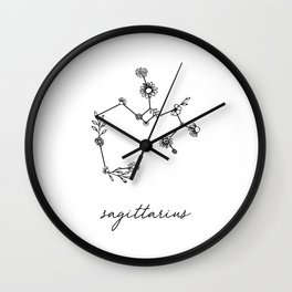 Sagittarius Floral Zodiac Constellation Wall Clock