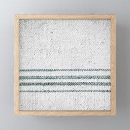 Farmhouse Grain Sack Camp Green Stripes Framed Mini Art Print