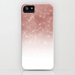 Girly Faux Rose Gold Sequin Glitter White Ombre iPhone Case