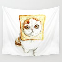 bread Wall Tapestries featuring Bread Cat by Leanne Engel