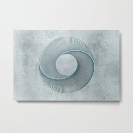 Geometrical Line Art Circle Distressed Teal Metal Print