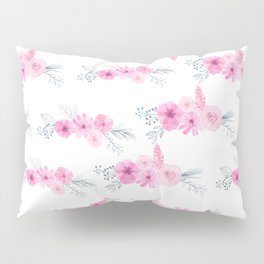 Blush pink gray watercolor hand painted elegant floral Pillow Sham