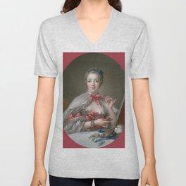 """François Boucher """"Madame de Pompadour at her Toilette"""" Unisex V-Neck"""