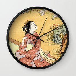 Woman & Cherry Blossoms Wall Clock