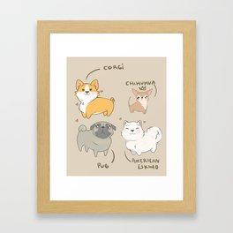 Kawai dogs - chihuahua - corgi - pug - pets Framed Art Print