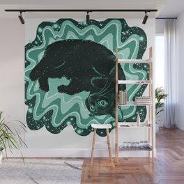 Cat-Nipped in Teal Wall Mural