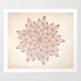 Mandala Flowery Rose Gold on Cream Art Print