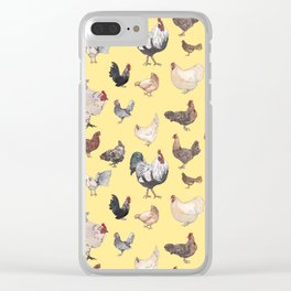 Chicken Happy (yellow) Clear iPhone Case