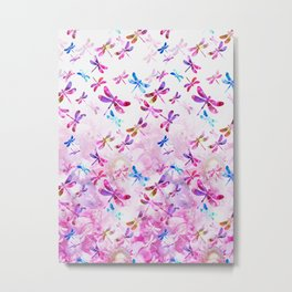 Dragonfly Lullaby in Pink and Blue Metal Print