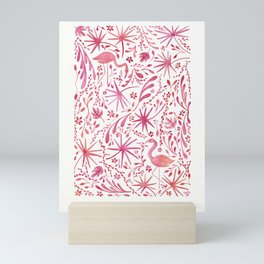 Flamingos at the Beach Mini Art Print