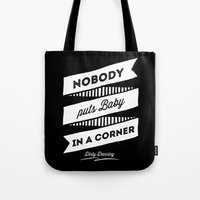 dirty dancing Tote Bags featuring Dirty Dancing black by 16floor