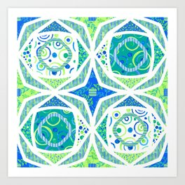 Aqua Pattern-in-Pattern Art Print