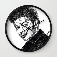 louis tomlinson Wall Clocks featuring Louis Tomlinson by Hollie B
