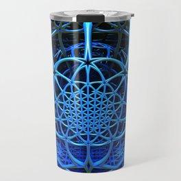 Blues - Flower of Life - Fractal - Mandala - Manafold Art Travel Mug