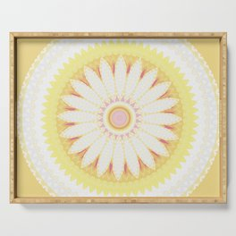 Sunshine Yellow Flower Mandala Abstract Serving Tray