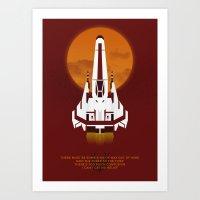 battlestar galactica Art Prints featuring Battlestar Galactica Viper MK II by jake