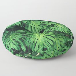Monstera leaf jungle pattern - Philodendron plant leaves background Floor Pillow