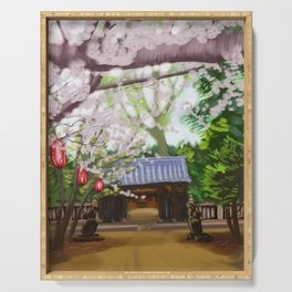 Cherry trees in Japan Serving Tray