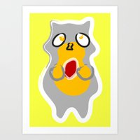 rocket racoon Art Prints featuring Racoon by Jessica Slater Design & Illustration