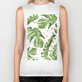 Simply Tropical White Gold Sands Dots and Palm Leaves Biker Tank