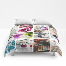 Glamorous Fashion & Cosmetics Collage Comforters
