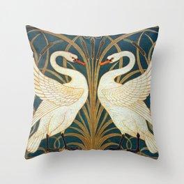 Walter Crane Swan, Rush And Iris Throw Pillow
