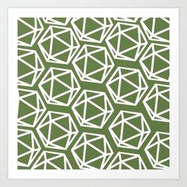 D20 Pattern - Green White Art Print