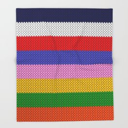 Knitted colorful stripes  Throw Blanket