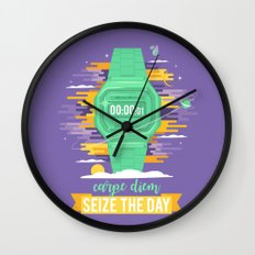 Carpe Diem - Seize the Day [green] Wall Clock