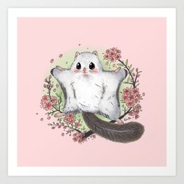 Flying Squirrel with cherry blosson Art Print