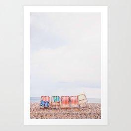 Beach Chairs, Beach, Sea, Ocean, Summer, Vacation, Coastal, Tropical, Paradise, Explore Art Print