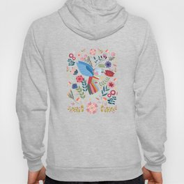 Folk Art Inspired Hummingbird In A Burst Of Springtime Blossoms Hoody
