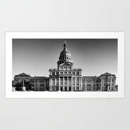 Austin Texas State Capitol Black and White Panorama Art Print