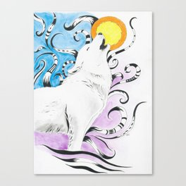 Wolf Spirit Howl Tribal Moon Ink Art Canvas Print