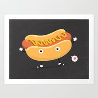 hot dog Art Prints featuring Hot Dog by Céline Dscps