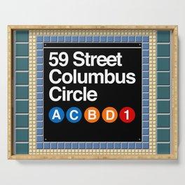 subway columbus circle sign Serving Tray