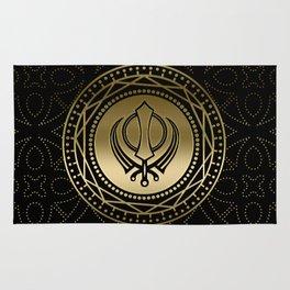 Decorative Khanda symbol gold on black Rug