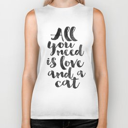 CRAZY CAT LADY, Cat Meow,All You Need Is Love And A Cat,Funny Print,Gift For Her,Women Gift,Cat Quot Biker Tank