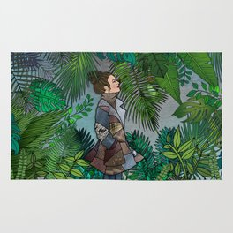 A Winter Walk in a Tropical Greenhouse Rug