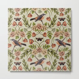 In The Garden - Nature Pattern w/ Birds, Flowers & Moths Metal Print
