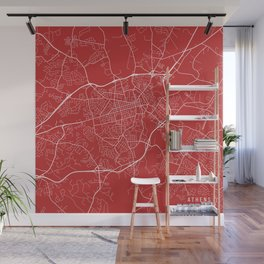 Athens Map, USA - Red Wall Mural