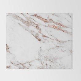 Rose gold foil marble Throw Blanket