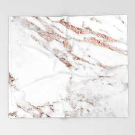 Rose gold foil marble Throw Blanket