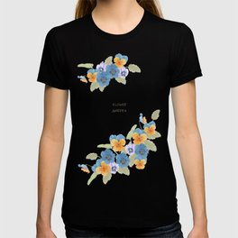 Watercolor illustration of pansy flower T-shirt