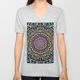 DETAILED CHARCOAL MANDALA (BLACK AND WHITE) WITH COLOR (PINK YELLOW TEAL) Unisex V-Neck