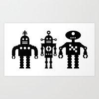 Three Robots by Bruce Gray Art Print